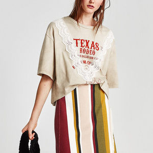 NWT Zara Texas Rodeo Oversized Printed Lace Tee